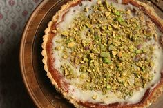 Meyer lemon pistachio tart. A Non-Traditional Thanksgiving Dessert I always wish for something a bit citrusy to complement a heavy meal and was overjoyed recently to discover the perfect dessert: