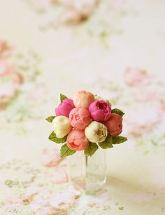 by Pei Li Dollhouse Miniatures, Miniature Food Jewelry, Craft Classes: Dollhouse Miniatures - Peonies Bouquet