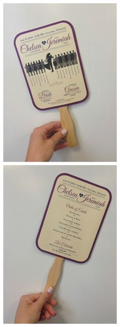 Wedding paper fan for guests. It gets pretty hot during those summer weddings, so it's a good idea to have a fan!