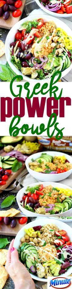 Mediterranean-inspired whole food ingredients come together to make colorful vegan Greek Power Bowls bursting with nutrients to fuel your body and mind. (gluten-free & dairy-free) AD RiceMonthwithMinu (Whole Food Recipes) Greek Recipes, Whole Food Recipes, Dinner Recipes, Cooking Recipes, Rice Recipes, Chicken Recipes, Recipies, Lasagna Recipes, Spinach Recipes