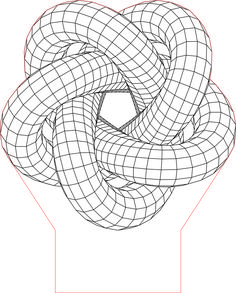 Torus knot 5 3D illusion LED lamp vector file