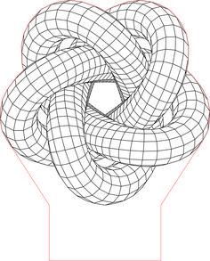 Torus knot 5 3D illusion LED lamp vector file