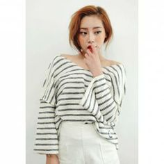 $10.09 Plus Size V-Neck Batwing Long Sleeved Stripes Blouse For Women