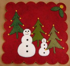 Happy Snowmen Grab n Go Kit Christmas Mug Rugs, Christmas Scenes, Felt Christmas, Christmas Crafts, Christmas Ornament, Penny Rugs, Felted Wool Crafts, Felt Crafts, Felt Pillow