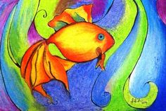 fish in oil pastels   My Life is an Abstract Painting