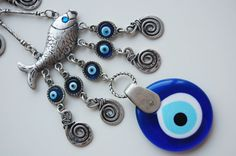 Two Fish Wall Hanging Amulet Handmade Turkish Silver Plated Evil Eye Bead