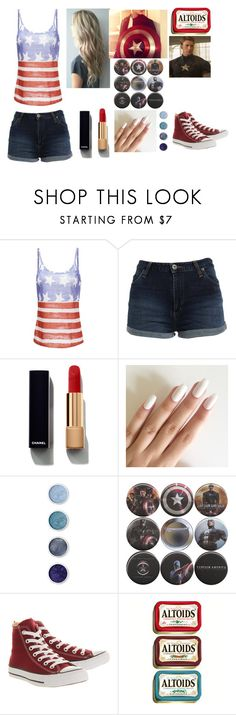 """""""Happy Fourth of July! Also, Happy 98th birthday to Captain America!"""" by qveen-of-stars ❤ liked on Polyvore featuring Bardot, Chanel, Terre Mère and Converse"""