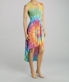 Look at this #zulilyfind! Yellow & Pink Tie-Dye Shirred Hi-Low Dress by Fashion Fuse #zulilyfinds