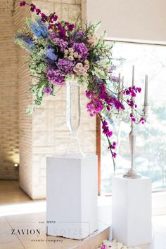 Greek themed wedding with beautiful pastel colours, colors, hanging arrangements, delphiniums, orchids, hydrangeas, roses, bougainvillea, suspended florals, Zavion Kotze Greek Wedding, Our Wedding, Hydrangea Bouquet, Hydrangeas, Bougainvillea Wedding, Pastel Colors, Colours, Event Company, Wedding Centerpieces