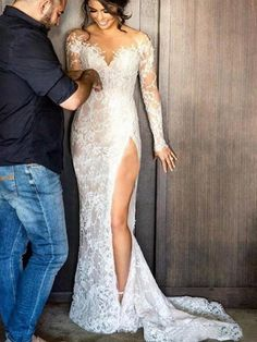 2017 New Split Inside Lace Wedding Dress Detachable Skirt Sheer Neck Long Sleeves Sheath Bridal Gown at A Discount is part of Lace weddings 2017 New Split Inside Lace Wedding Dress Detach - Lace Mermaid Wedding Dress, Wedding Dress Sleeves, Wedding Lace, Gorgeous Wedding Dress, Mermaid Dresses, Lace Sleeves, Sexy Reception Dress, Luxury Wedding, Perfect Wedding