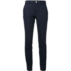 Gucci floral print trousers (697.975 CLP) ❤ liked on Polyvore featuring pants, blue, gucci, slim pants, zipper trousers, blue floral pants and blue pants