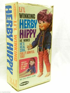 Vintage 1968 Remco Li'l Winking Herby Hippy Hippie Figure Psychedelic Doll w BOX