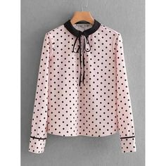 Tie Neck Polka Dot Blouse - Polka Dotted All The Things Boutique -  #polkadots #retailtherapy #trending #pink #womenswear
