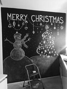 Chalkboard Christmas Tree Snowman
