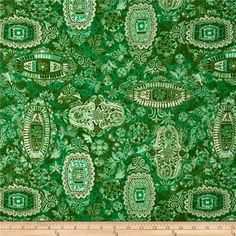 Jakarta Damask Green from @fabricdotcom  This cotton print is perfect for quilting, apparel, and home decor accents. Colors include shades of green.