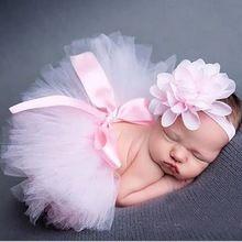 Infant Newborn Baby Girl Clothes Girls Flower Headband Mesh Ball Gown Tutu Skirts Photography Prop Baby Clothing Set AU020929(China (Mainland))