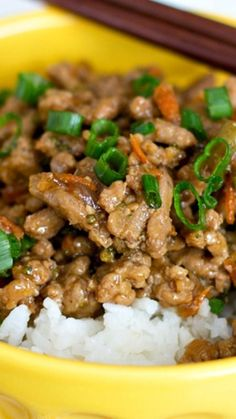 Teriyaki Turkey Rice Bowl ~ The delicious, sweet teriyaki sauce and the semi-hidden veggies in this Teriyaki Turkey Rice Bowl makes this a healthy dish your whole family will love!