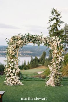 The florist put together this wedding arch in only three hours, but the final product was simply gorgeous. Opt for a wedding arch like this one if you're short on setup time, but still want major impact. #weddingideas #wedding #marthstewartwedding #weddingplanning #weddingchecklist Simple Wedding Arch, Wedding Arch Rustic, Floral Wedding, Wedding Flowers, Wedding Arches, Blue Wedding, Cream Wedding, Perfect Wedding, Wedding Chuppah