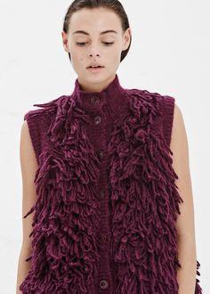 Maison Martin Margiela - Burgundy Furry Short Sleeve Cardigan
