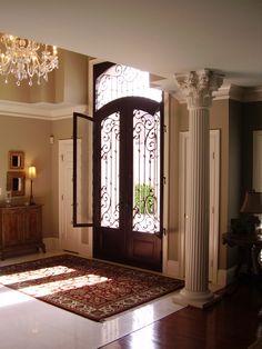 Find custom iron doors in unique styles. American Iron is the Atlanta iron doors source for your new iron entry doors. Front Door Design, Gate Design, House Design, Casa Magnolia, Iron Front Door, Decoration Entree, Wrought Iron Doors, Entry Doors, Entrance