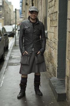 Kilt by . by Skirts for men collection Kilt Skirt, Man Skirt, Mode Alternative, Alternative Fashion, Modern Kilts, Men Wearing Skirts, Utility Kilt, Modern Mens Fashion, Style Masculin