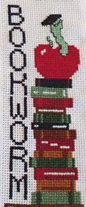 Cross Stitch Bookworm Bookmark