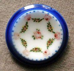 Antique hand painted porcelain button