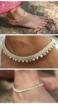 Macrame boho anklets.. go check these beauties out in this etsy store -link doesn't go to this photo tried several sites without luck -make a cute choker too