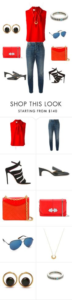 """""""Chill with red"""" by jamuna-kaalla ❤ liked on Polyvore featuring Marques'Almeida, Burberry, Oscar Tiye, Sergio Rossi, Tory Burch, Carven, Victoria Beckham, Marte Frisnes, Marni and Fayt Jewelry"""