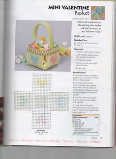Free plastic canvas pattern tiny easter baskets 13 plastic mini valentine basket by michele wilcox from 201 all occasion ornaments in plastic canvas negle Gallery
