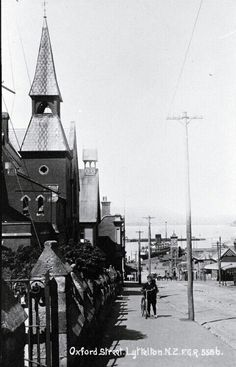 Early Oxford st Lyttelton public school on left Christchurch New Zealand, City Library, Oxford Street, Local History, Public School, Main Street, Image Collection, Places, Nature