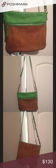 """Kate Spade Cobble Hill Crossbody Purse-green-straw This purse has only been used a few times and is in great condition! No defects or signs of wear. Adjustable strap, gold hardware, bag height 10"""", bag length 10.5"""" kate spade Bags Crossbody Bags"""