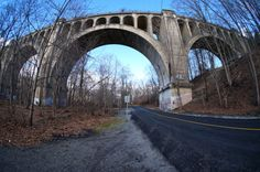 730119d413e Fisheye shot of Paulinskill Viaduct from road below Concrete Structure,  Abandoned Buildings, Bridges