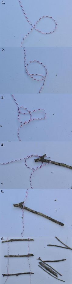 Make a cute twig ladder for toy plan in the backyard tree.