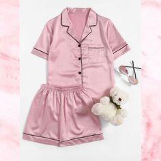 SheIn offers Contrast Piping Sati - Pajama Sets - Ideas of Pajama Sets - Shop Contrast Piping Satin Pajama Set online. SheIn offers Contrast Piping Satin Pajama Set & more to fit your fashionable needs. Pajama Outfits, Lazy Outfits, Fashion Outfits, Casual Outfits, Satin Pyjama Set, Satin Pajamas, Mode Turban, Cozy Pajamas, Pyjamas