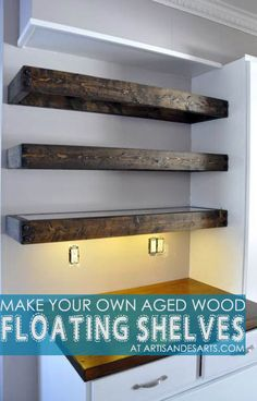 artisan des arts: Aged wood floating shelves - DIY with instructions! artisan des arts: Aged wood floating shelves - DIY with instructions! Floating Shelves Bathroom, Glass Shelves, Wood Shelves, Pallet Shelves, Kitchen Shelves, Basement Shelving, Basement Kitchen, Bar Kitchen, Floating Wall