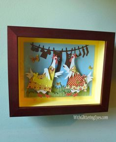 Cricut Chatty Chickens - sweet post on Sis Patterson's blog featuring chickens I sent to her that she framed for her crafty space.