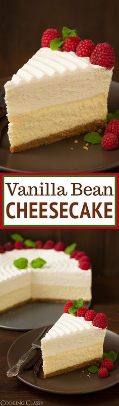 Vanilla Bean Cheesecake (Cheesecake Factory copycat) Recipe via Cooking Classy - this is the BEST CHEESECAKE EVER! Buttery graham crust, decadent vanilla bean cheesecake, sweet white chocolate mousse and fluffy whipped cream topping. Desserts Menu, No Bake Desserts, Just Desserts, Delicious Desserts, Dessert Recipes, Baking Desserts, Party Recipes, White Desserts, Copycat Recipes Desserts
