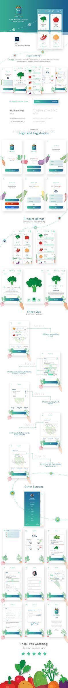 Ознакомьтесь с этим проектом @Behance: «On Veggy - Multipurpose E-commerce App UI Kit» https://www.behance.net/gallery/52192577/On-Veggy-Multipurpose-E-commerce-App-UI-Kit
