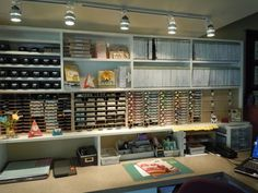 Wow! I love this whole organized wall of supplies-the ink pads, cubbies & all the space to work!