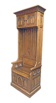 Solid Pine Gothic Seating Cabinet is a classic masterpiece of medieval cabinetmakig. This piece is created by the professional hands of master artisans delivering the highest quality medieval furniture reproductions. Faithful reproduction of an ancient model, this piece of furniture perfectly matches medieval interiors. A must-have ideal for medieval collectors. Solid Reclaimed Pine Wood198 x 80 x 45 cm (78 x 31.5 x 18 inch)Europe1 FUME4402004 IN STOCK - Shipping within 7 days