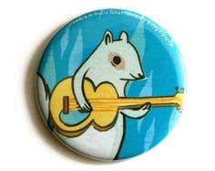 cute SQUIRREL mirror by boygirlparty, illustrated pocket mirror with white squirrel guitar art. $6.00, via Etsy.