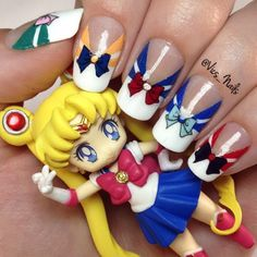 Talk Dolly To Me — nailpornography: Sailor Moon Kawaii Nail Art, Cute Nail Art, Cute Nails, Pretty Nails, Gorgeous Nails, Uñas Sailor Moon, Sailor Moon Nails, Sailor Moon Wedding, Anime Nails