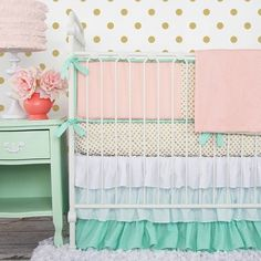 Trending nurseries!! Caden Lane Mint & Coral Chevron Baby Bedding with pops of gold