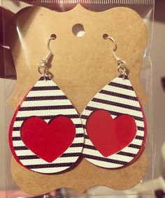 Black White Stripe Red Heart Faux Leather Earrings CHD Heart warrior Valentine's Day - Love these! Excited to share this item from my shop: Black White Stripe Red Heart Faux Leather Earrings CHD Heart warrior Source by decorandmorebyg - Sapphire Earrings, Crystal Earrings, Crystal Jewelry, Stud Earrings, Teardrop Earrings, Dyi Earrings, Animal Earrings, Black Earrings, Diy Leather Earrings