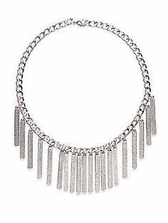 Rebecca Minkoff Pavé Runway ID Necklace - Silver - Size No Size