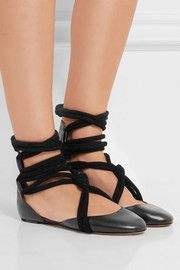 Lois lace-up leather ballet flats