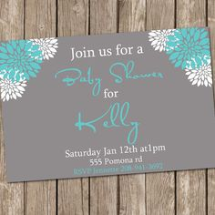 Boy Baby Shower Invitation Grey and Teal Flower Printable Personalized 121204-J4-1A. $13.00, via Etsy.
