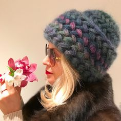 Купить Шапка вязаная Астра вязанная, из кид мохера, женская, тёплая. - шапка, шапка вязаная