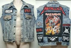 Metal Punk Jean Cut Vest Jacket Patch Pantera Ghost Slayer Metallica Iron Maiden #EnglandJeans #Vest